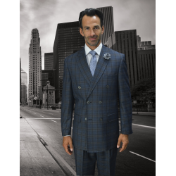 CHARCOAL GRAY CLASSIC DOUBLE BREASTED PLAID MENS SUIT SUPER 150'S EXTRA FINE ITALIAN WOOL HAND MADE